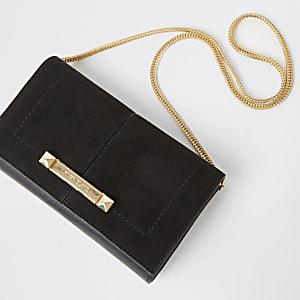 Schwarze Handtasche aus Wildlederimitat