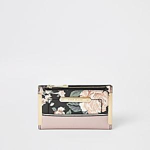 Pinker, aufklappbarer Mini-Geldbeutel mit Blumenmuster