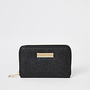 Mini portefeuille noirzippéavec monogramme RI en relief