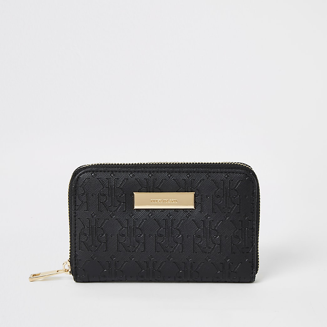 Zwarte mini portemonnee met rits rondom en RI-logo