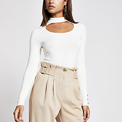 Cream cut out choker knitted jumper