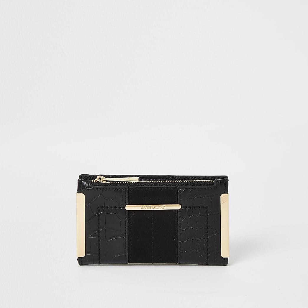 Schwarze Mini-Geldbörse zum Aufklappen mit Kroko-Prägung