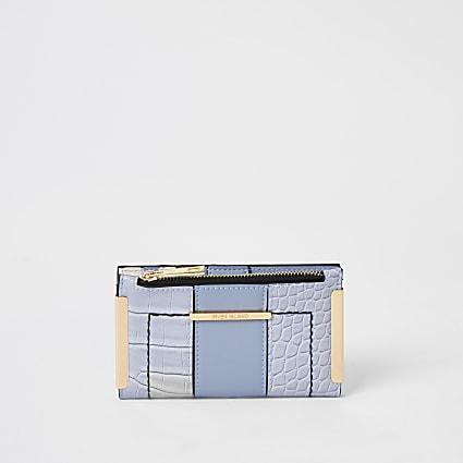 Blue croc embossed mini fold out purse