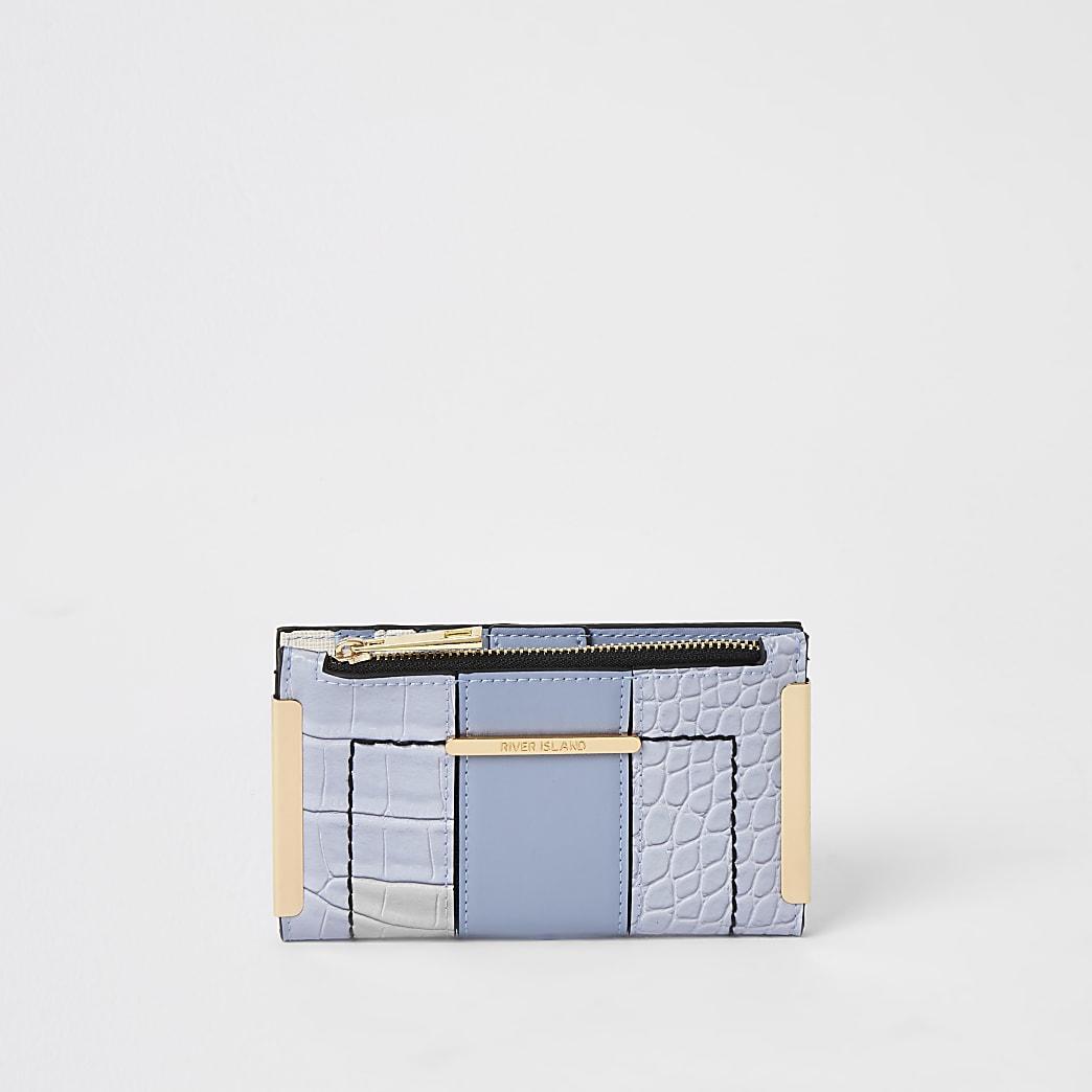 Blauwe mini-uitvouwbare portemonnee met krokodillenprint in reliëf