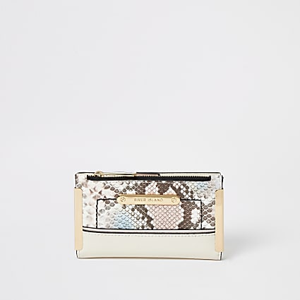 Pink snake embossed mini fold out purse