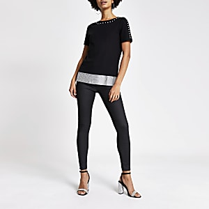 Black diamante chainmail trim T-shirt