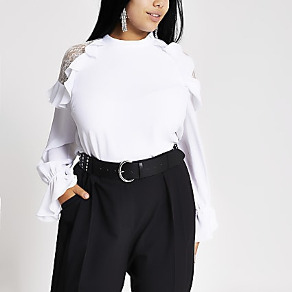 Plus white lace frill shoulder top