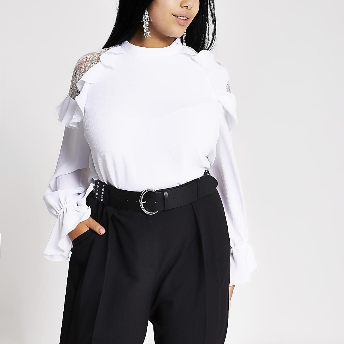 Plus white lace frill shoulder top
