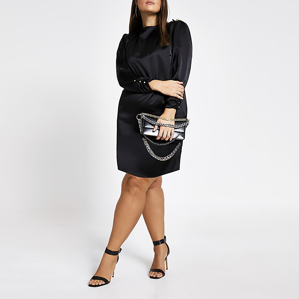 Plus black button shoulder satin swing dress