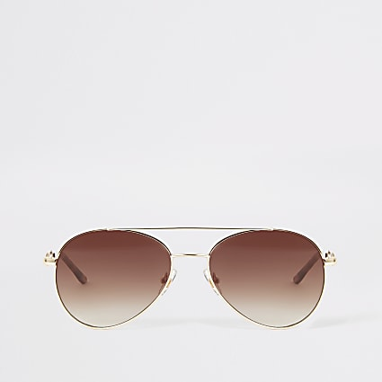 Gold snaffle arm aviator sunglasses