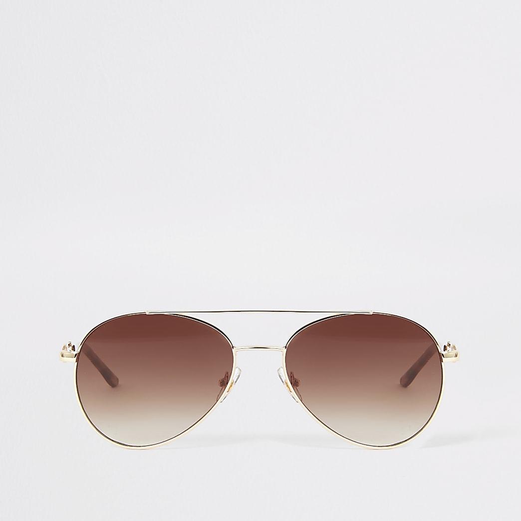 Gold snaffle arm aviator sunglasses