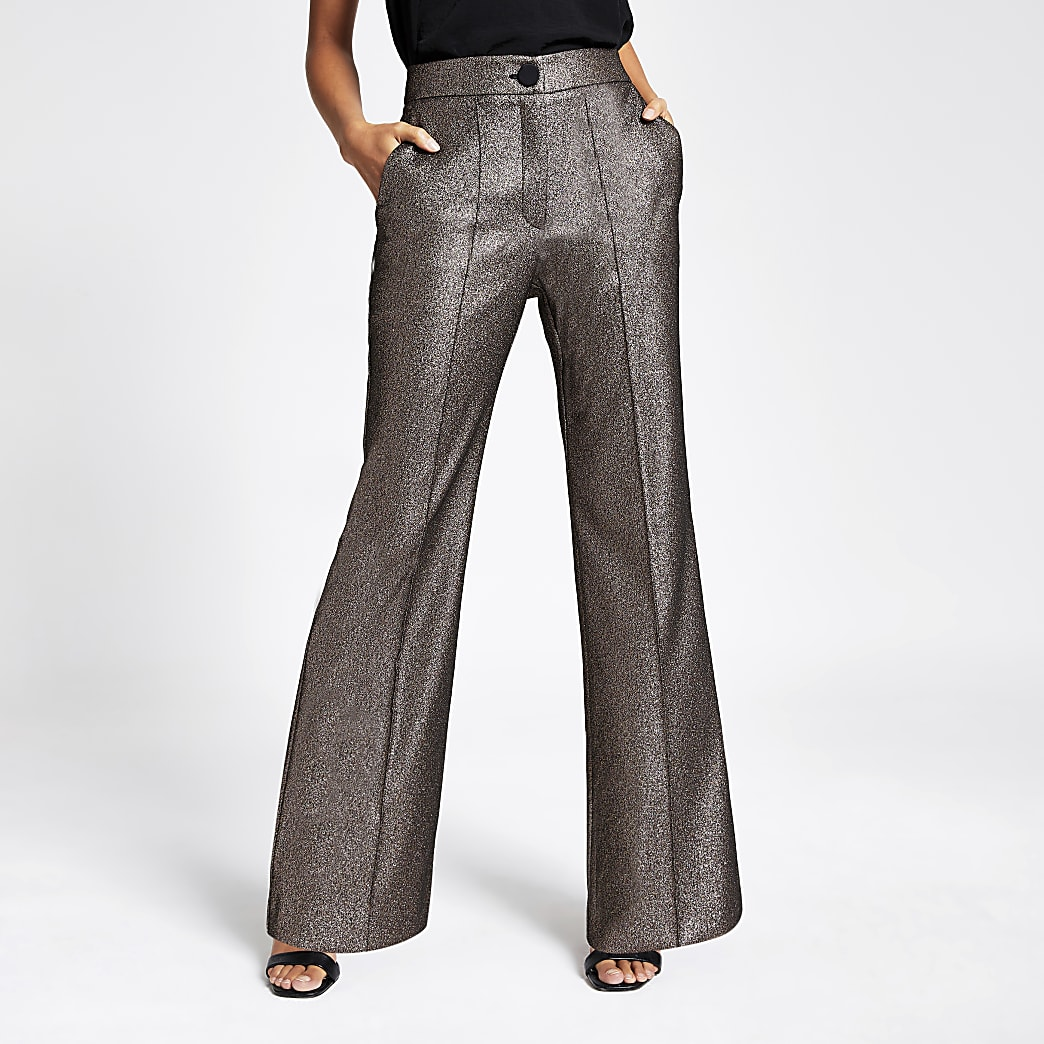 Gold metallic high rise flare trousers