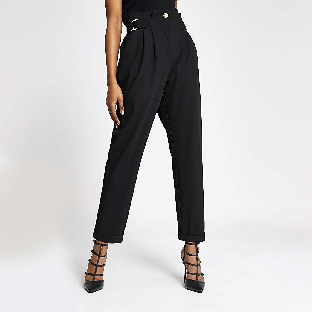 Black buckle waist peg leg trousers