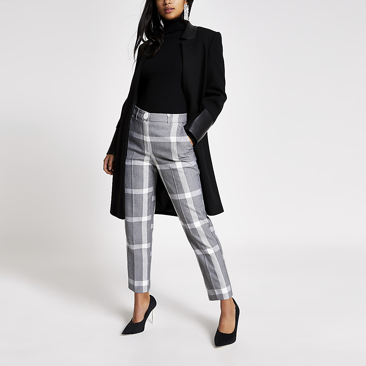 Petite grey check cigarette trousers