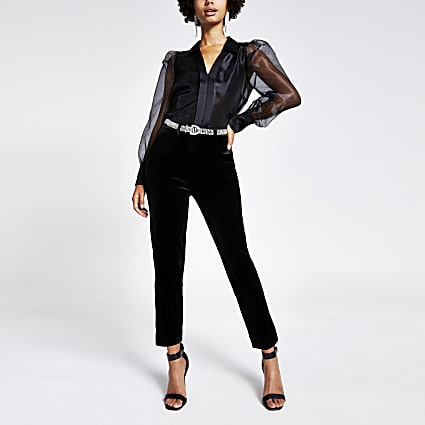 Black velvet diamante belt cigarette trousers