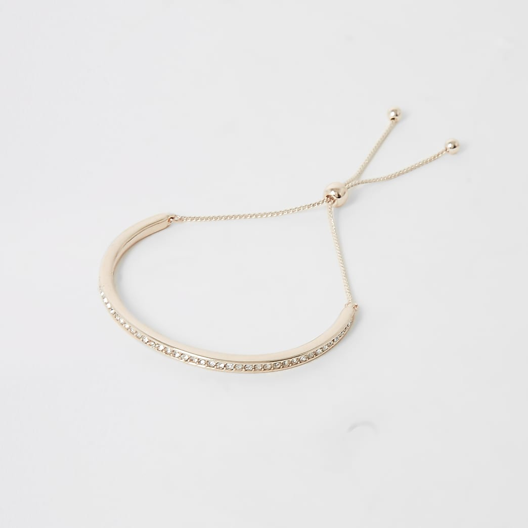 Rose gold colour lariat cuff bracelet