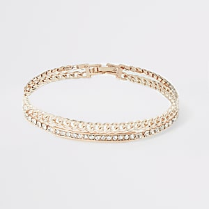 Rose gold diamante chain layered bracelet