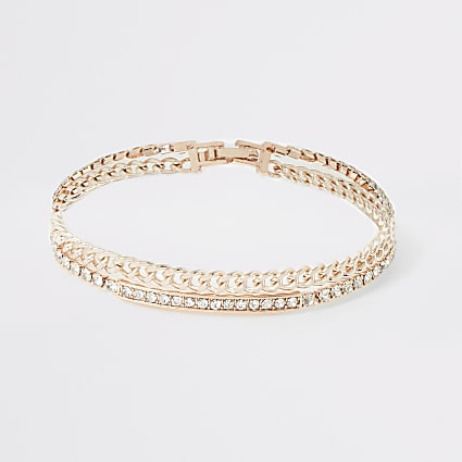 Rose gold colour diamante layered bracelet