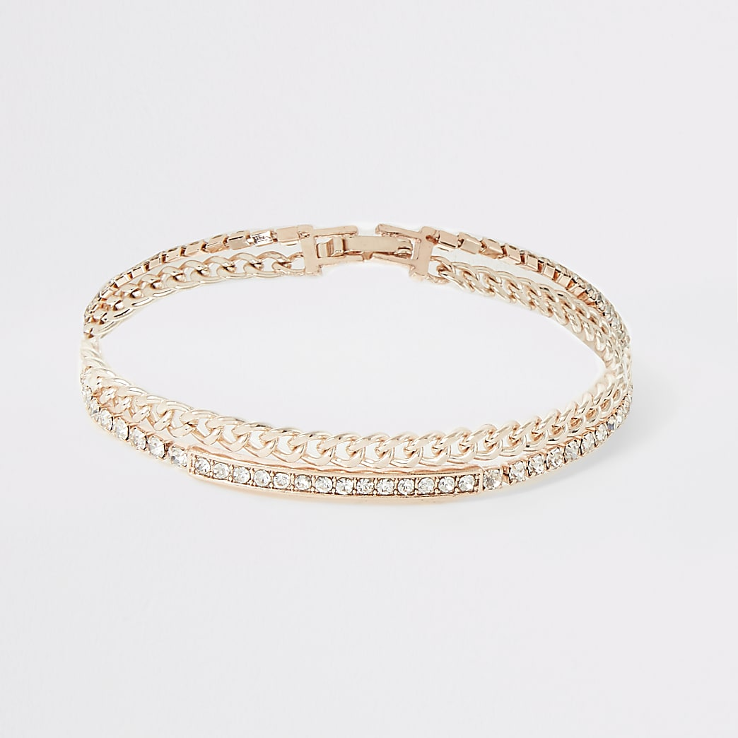 Rose gold tone diamante layered bracelet