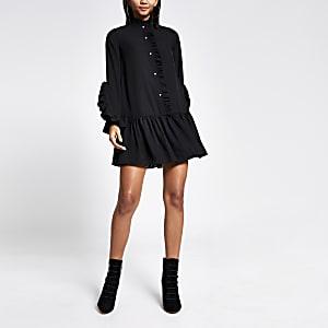 Schwarzes, langärmliges Mini-Kittelkleid mit Rüschen