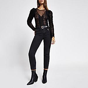 Zwarte bodysuit met kant en doorschijnende lange mouwen