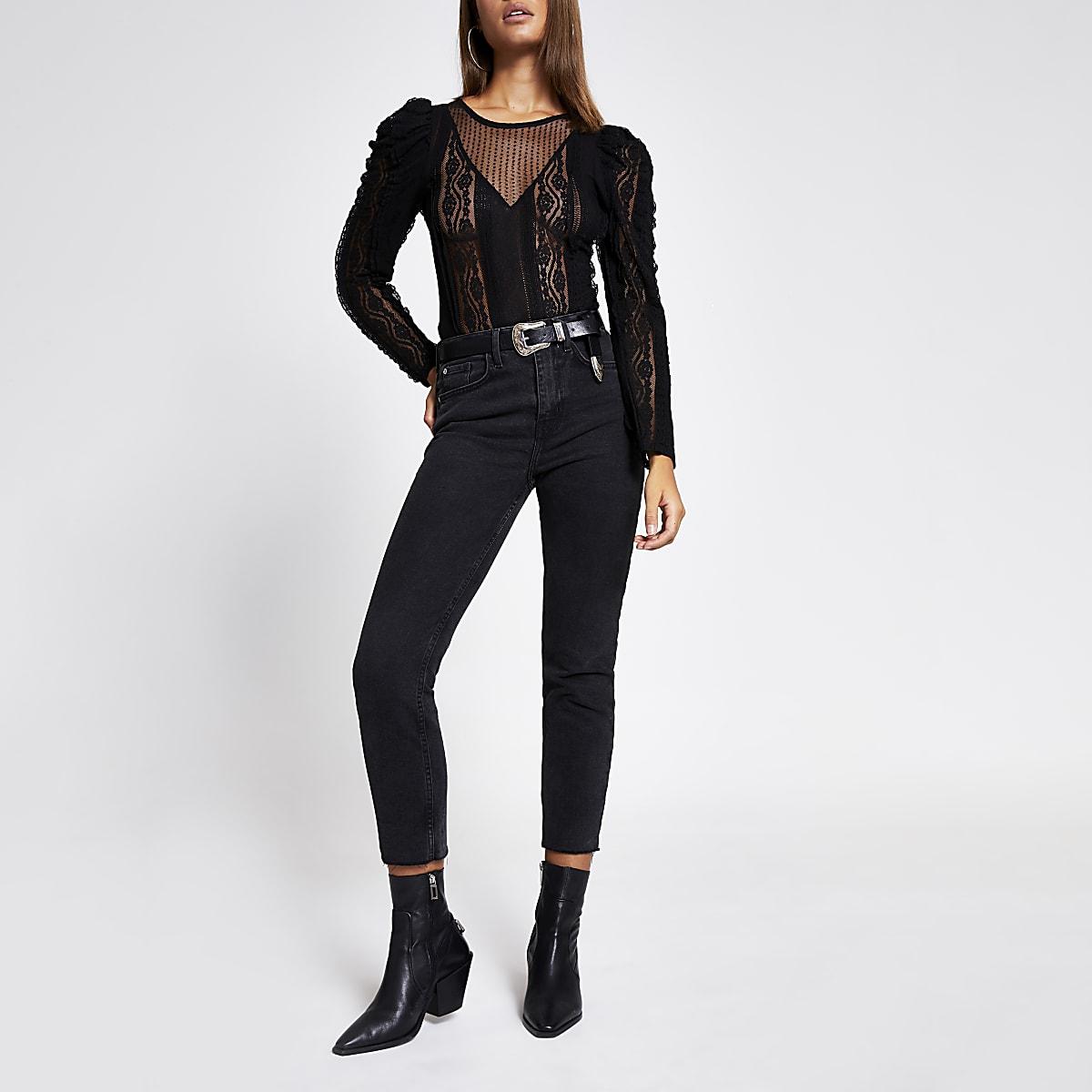 Black sheer lace long sleeve bodysuit