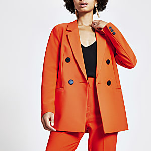 Oranje double-breasted boyfriend blazer