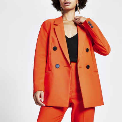 Orange double breasted boyfriend blazer