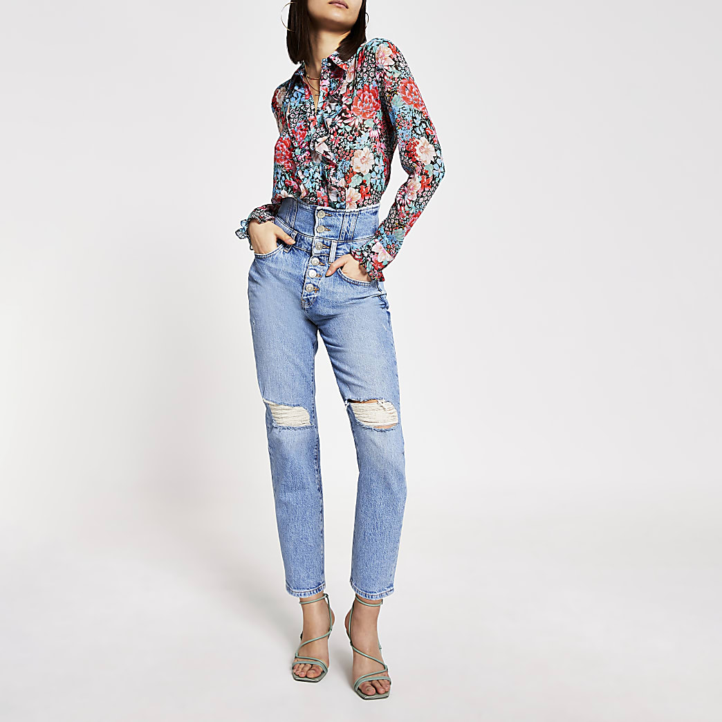 Blue high rise corset waist ripped jeans