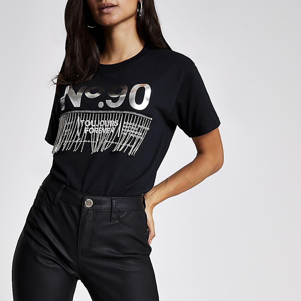 Petite black 'No.90 ' diamante fringe T-shirt
