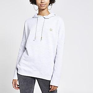 Grijze hoodie met vleermuismouwen
