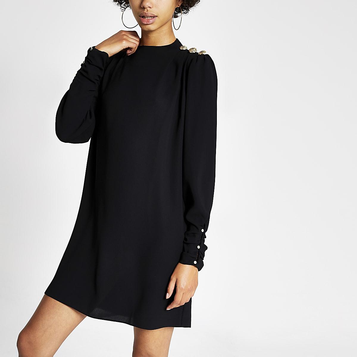 Black button shoulder satin swing dress