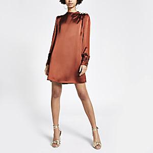 Brown button shoulder satin swing dress