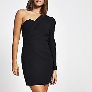 Mini-robe moulante asymétrique noire