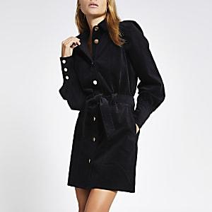 Schwarzes Blusenkleid aus Samt mit Puffärmeln