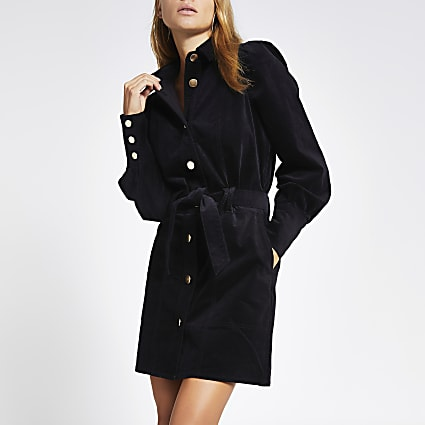 Black velvet puff sleeve shirt dress