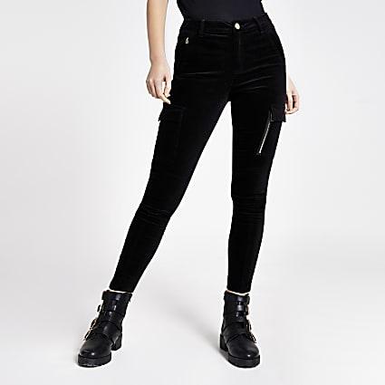 Black velvet skinny utility trousers