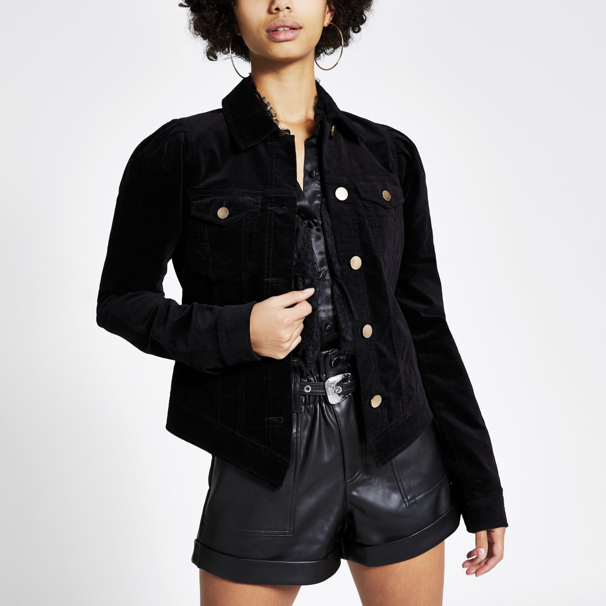 Black velvet puff sleeve jacket