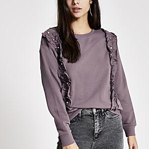 Gerüschtes Sweatshirt in Lila mit Perlen- und Strassverzierung