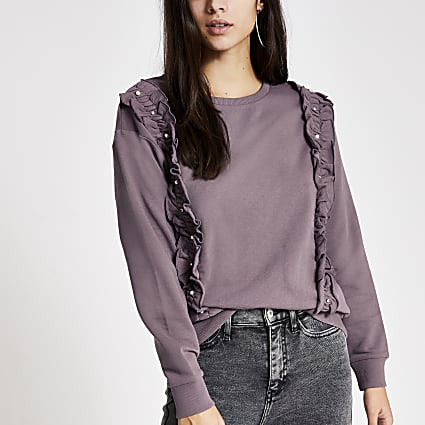 Purple embellished frill front sweatshirt