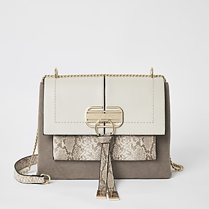 Dark beige lock front cross body bag