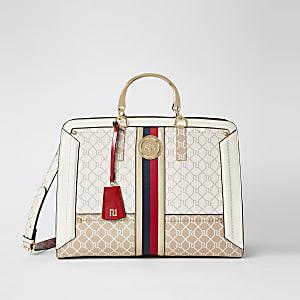 Beige Shopper-Tasche mit RI-Monogramm und Metallgriff