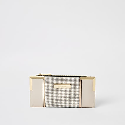 Pink diamante metal corner fold out purse