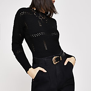Zwarte gebreide trui met bloemenborduursel