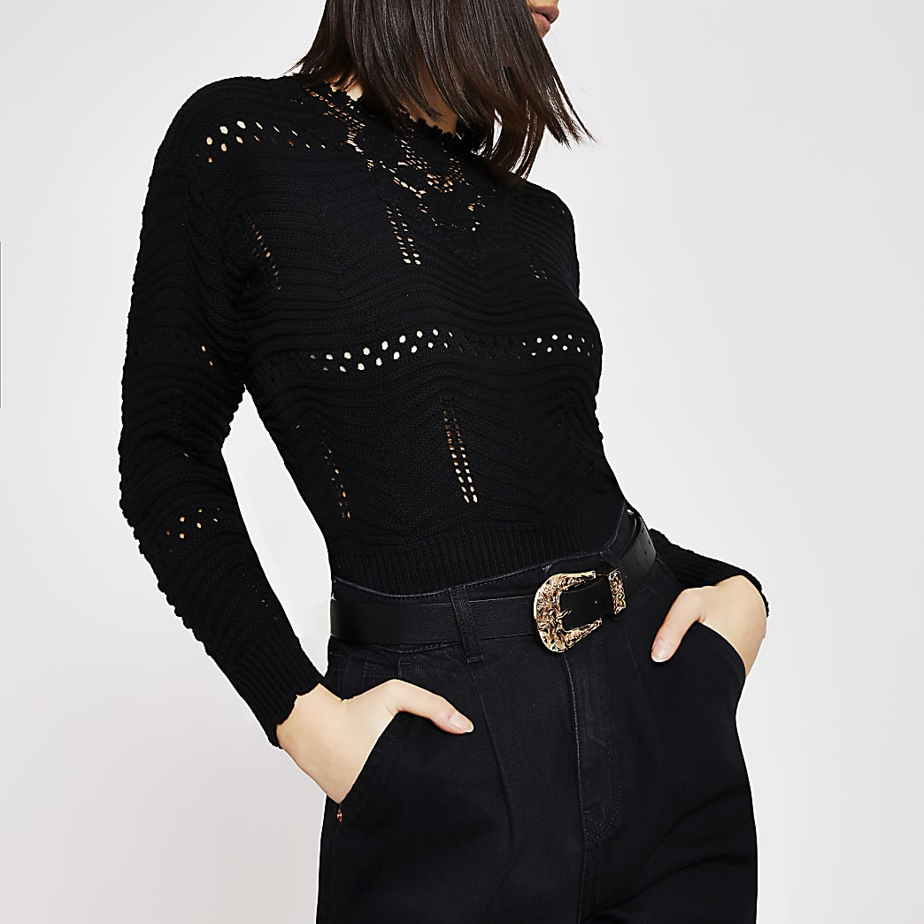 Black floral embroidered knitted jumper