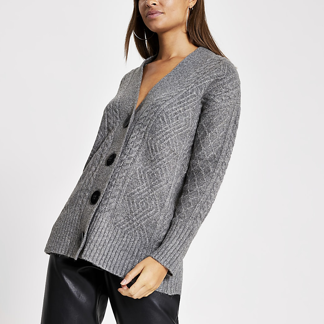 Grey button oversized cable knitted cardigan
