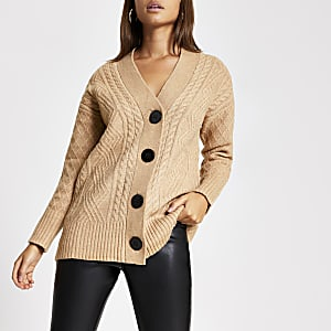 Beige button oversized cable knitted cardigan