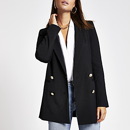 Black double breasted twill blazer