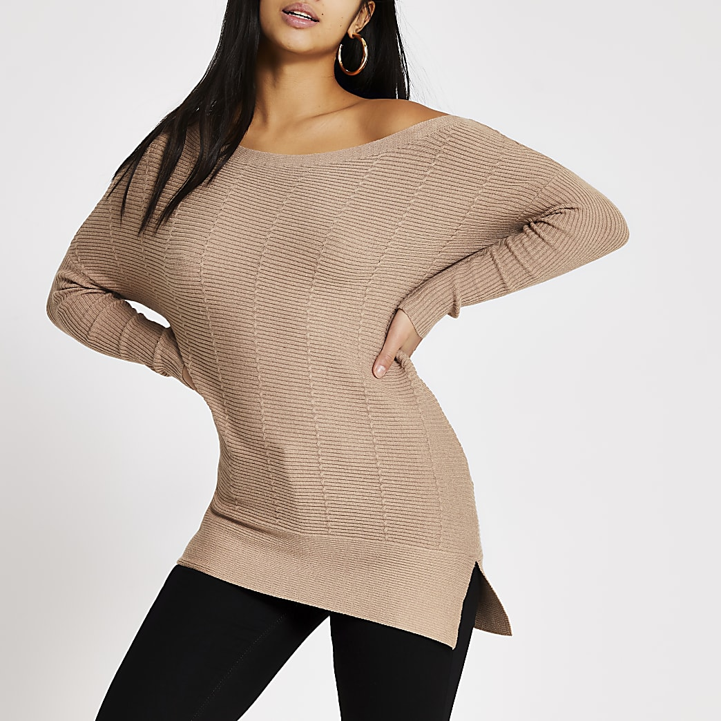 Petite beige cable knit off shoulder jumper