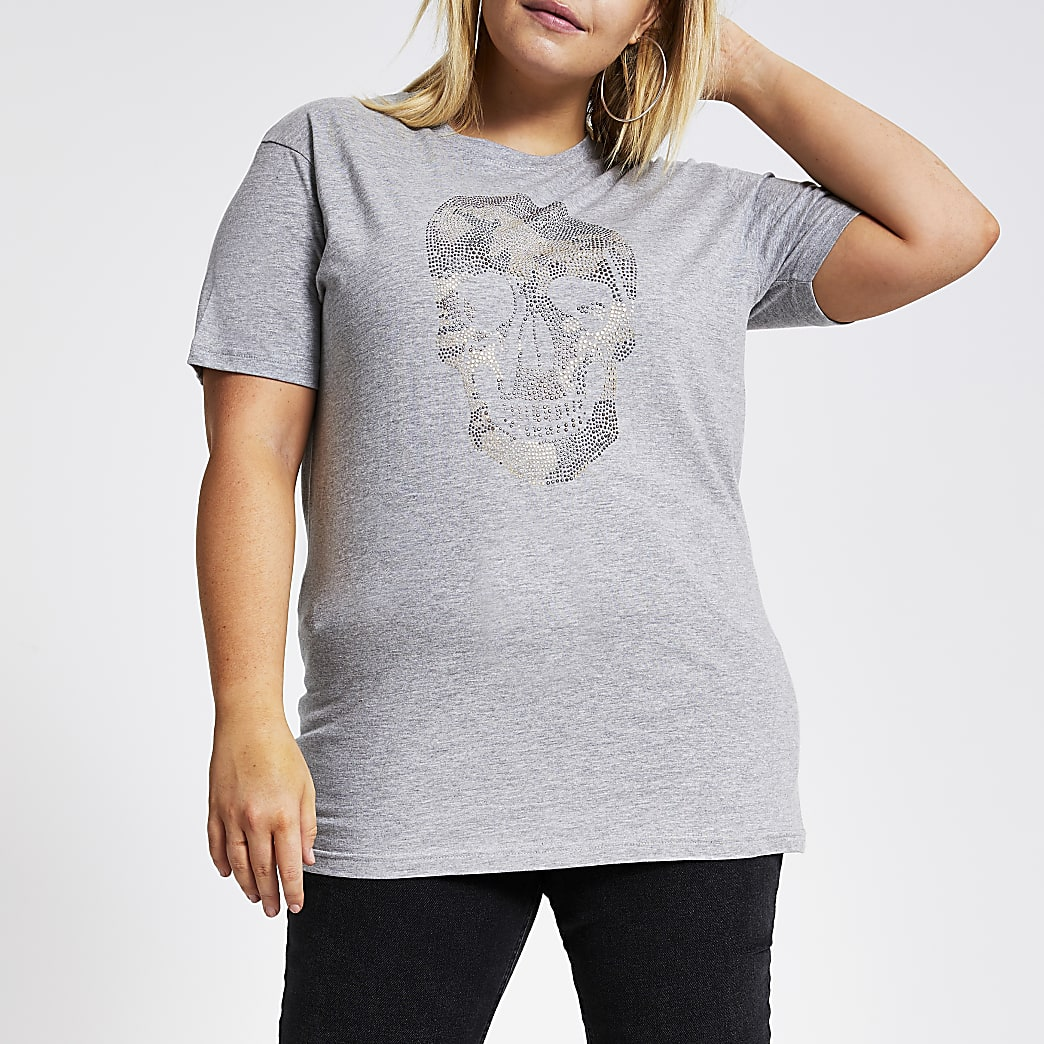 Plus grey embellished camo skull T-shirt